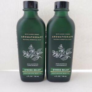 2 Bath & Body Works STRESS RELIEF EUCALYPTUS SPEARMINT Moisturizing Body Oil