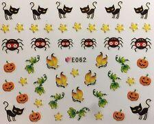 Nail Art 3D Decal Stickers Halloween Black Cat Spider Pumpkin Stars E062