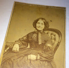 Antique Victorian American Old Fashion Woman Mrs. Evarts! Connecticut CDV Photo!