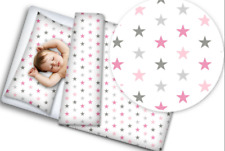 BABY BEDDING SET 120x90 PILLOWCASE DUVET COVER 2PC FIT COT Grey pink stars