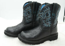 ARIAT Black Womens Sz 7 Stitched Design Leather Western Cowgirl Roper Boots