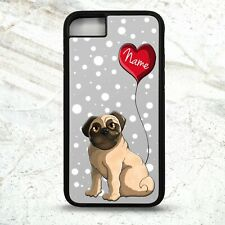 Pug puppy love heart cute cartoon dog personalised name phone case cover