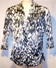NEW $58 Tag XL Rafaella Black Gray White Stretchy ¾Sleeve Top Ruched Front,Sides