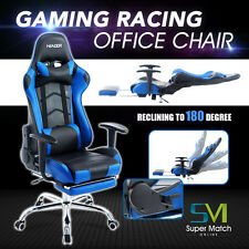 Highback PU Leather Racing Gaming Chair Race Car Seat Office Computer Desk Bule