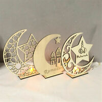 Wooden Eid Mubarak Ramadan DIY Craft Ornament Muslim Islam Plaque Pendant Decor