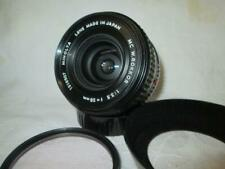 Minolta MC MD W.Rokkor 28mm f 3.5 Wide Angle Lens + Filter + Cap + Hood