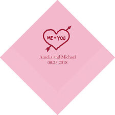 300 Me Plus You Heart and Arrow Personalized Printed Wedding Cocktail Napkins