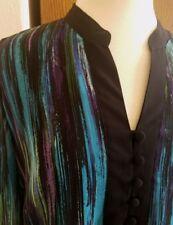 NWT JM Collection Ladies Blues & Purples Blouse Shirt Top Long Sleeve sz 14