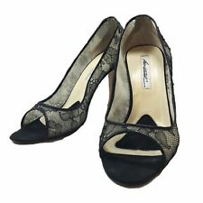 BRIAN ATWOOD Black Satin Lace Pumps Heels with Box Size 40