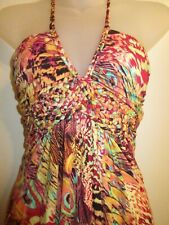 Sky Brand Clothing S Top Halter Braided Bright Leopard Peacock Printed Hot Pink