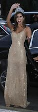 Sherri Hill Prom Pageant Evening dress Gold Sequin Miss England Miss GB