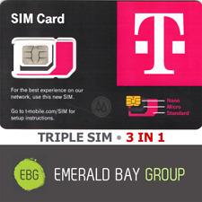 T-Mobile Triple Sim Card Mini + Micro + Nano • Gsm 4G 5G Lte • Use By June 2023
