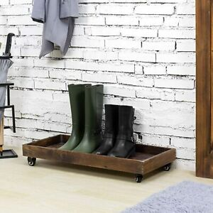 30 Inch Rustic Wood Rolling Boot Storage Tray w/ Metal Pipe Handles and Wheels