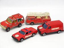 Majorette et divers 1/64 - Lot de 4 véhicules de Pompiers
