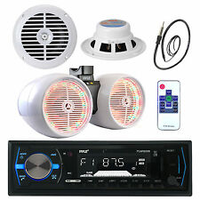 """Pyle Boat Bluetooth USB Radio, 6.5"""" Speakers, LED 6.5"""" Tower Speakers, Antenna"""