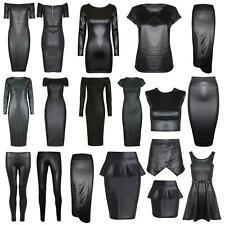 Womens Ladies Celeb PVC Wetlook Faux Leather Look Bodycon Dress Top
