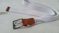 NEW MENS Perry Ellis Webbed Leather Trim Belt Blue sz S 30-32 $42.5 #97-79442
