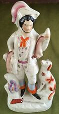 "Lg. 16-1/4"" Antique Staffordshire FIGURE of MAN w/ DOG, MUSKET, and GAME Exc."