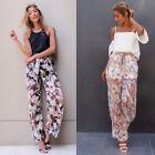 Women OL Business Casual High Waist Flare Wide Leg Long Pants Palazzo Trousers