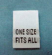 LOT 50 WOVEN LABELS, SIZE TAGS - ONE SIZE FITS ALL