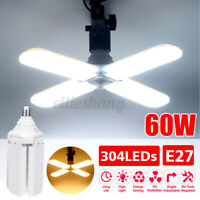 E27 Portable Foldable Fan Blade Light Adjustable Bulb Bright LED Ceiling Lamp