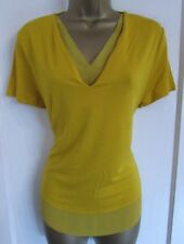 MARKS & SPENCER LADIES YELLOW V NECK SHORT SLEEVED BLOUSE TOP SIZE 12