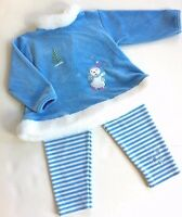 Worn Once! LE TOP 24M 2 Blue Winter Holiday Ice Skater Velour Swing Top Leggings