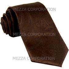 New Vesuvio Napoli polyester Men's necktie paisley wedding formal prom Brown