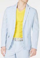 INC Mens Blazer White Blue Size XS Seersucker Slim Fit Striped Notched $129 #371