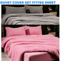 Luxury Teddy Bear Fleece Duvet Covers Cosy Warm Soft Bedding Sets- Fitted Sheets