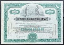 DETROIT & CANADA TUNNEL CO Stock 1931 Detroit-Windsor Tunnel Detroit River VF+++