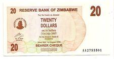 Zimbabwe 20 dollars 2006 bearer cheque   FDS  UNC    pick 40    lotto 3606
