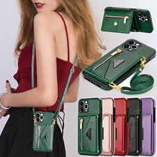 For Samsung Note 20 Ultra A12 S21 5G iPhone 12 11 8 PU Leather Shoulder Bag Case