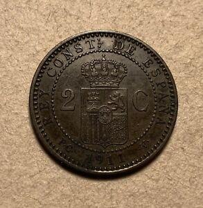 1911 Spain 2 Centimos - high grade