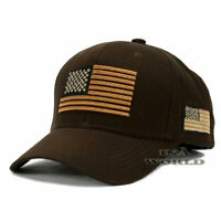 USA AMERICAN Flag Hat Tactical Military Snapback Cotton Baseball Cap- Brown