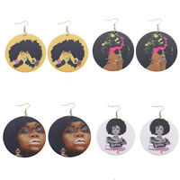 Beautiful African Woman Painted Natural Wooden Earrings for New Design Jewelry