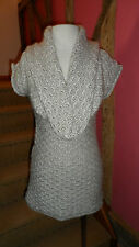 Size 8 Cap Sleeve Cowl Neck Mini Dress in a Honey Acrylic Blend by River Island