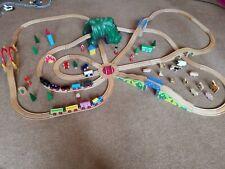 Wooden Train Set Track With Mountain, Bridges, Animals, House Trains brio thomas
