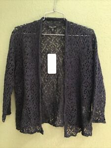 NWT $198 Eileen Fisher Linen Bld Blue Sparkle Open Front Cardigan PP P Petite