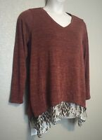 NWT Style&Co Women's Plus Sz 2X V-Neck Layered Look Long Sleeve Animal Trim Top