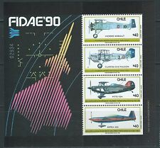 CHILE 1990 Air Force Aircraft Airplane Plane fighters souvenir sheet MNH