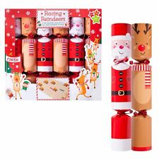 6 Pack Novelty Game Christmas Crackers - Pull Back Reindeer Racing