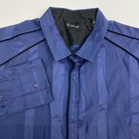 INC International Concepts Button Up Shirt Men's 2XL XXL Long Sleeve Blue Cotton