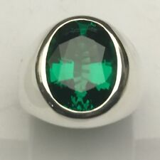 MJG STERLING SILVER MEN'S RING.12 X 16mm LAB EMERALD. 28 GRAMS