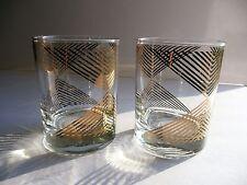 Vintage Set of 2 GEORGES BRIARD Signed GOLD STRIPE Chevron Barware Glasses