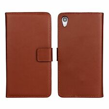 Brown Genuine Leather Business Wallet Flip Case Cover Stand For Sony Xperia Z2