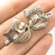 Vtg 925 Sterling Silver  Happy Sad Face Mask Pin Brooch