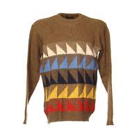 Strickpullover Sweater Größe M Pullover Retro Vintage Motiv Weich Braun Rundhals