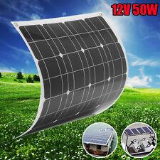 Elfeland 50W 12V Flexible Solar Panel + Wire For Home RV Boat Battery Charger