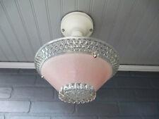 Vintage Antique Art Deco Semi Flush Mount Pink Hobnail Light Fixture Rewired UL